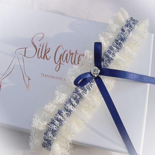Best seller ribbons and lace dark blue wedding garter