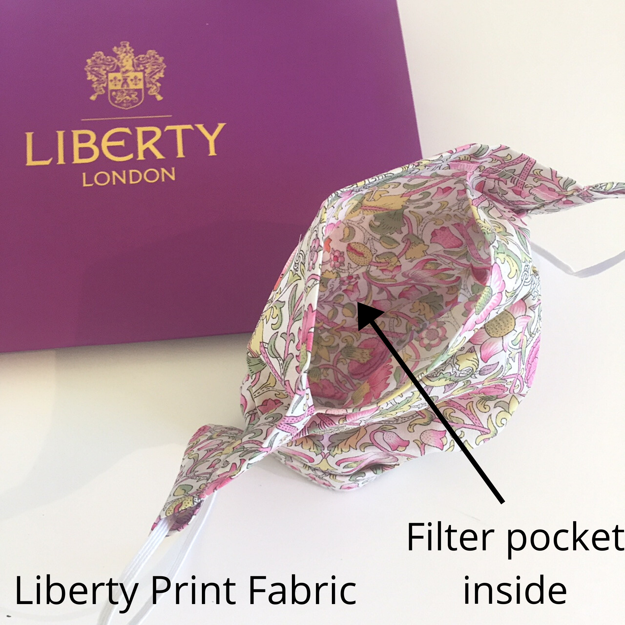 Liberty fabric face mask with filter pocket and nose wire