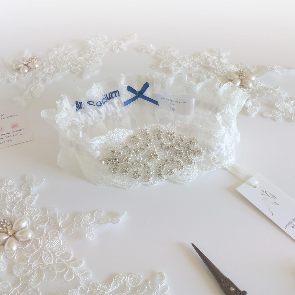 personalised ivory garter vintage lace crystals