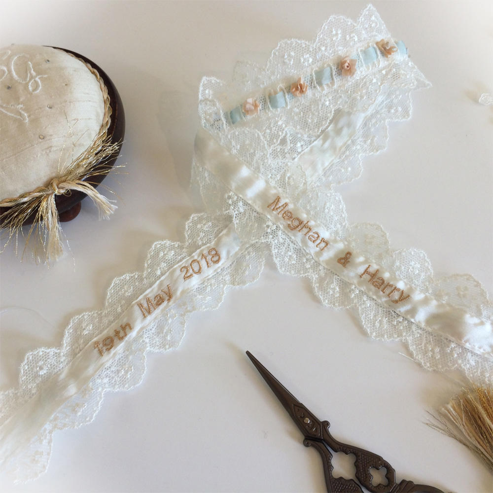 Embroidered bridal garter Personalised inside