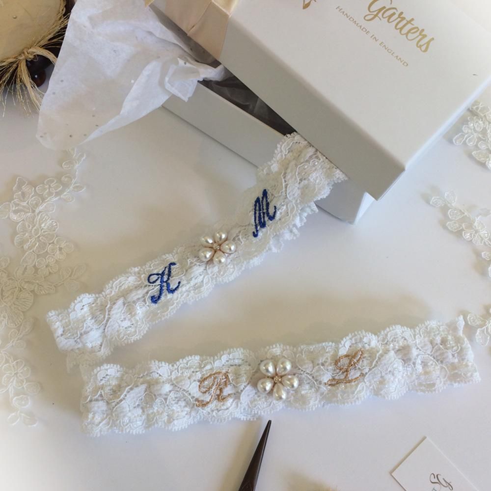 Navy blue and gold embroidered wedding garters personalised