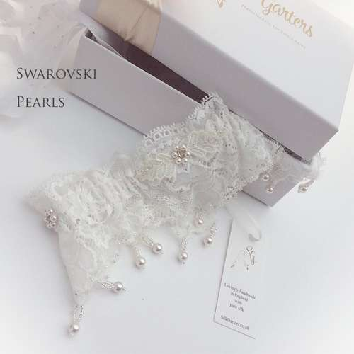 Swarovski Pearls wedding garter Leila Luxury designer