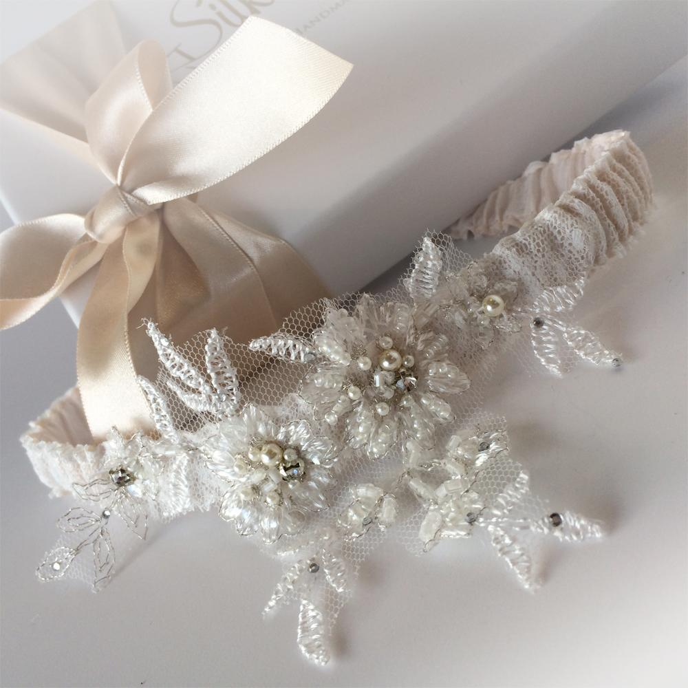 Mia Nude silk wedding garter