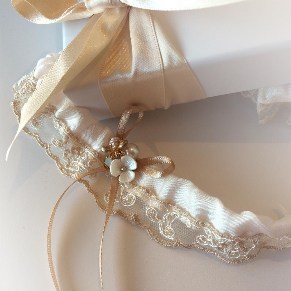 Nottingham lace wedding garter in champagne nude silk and rare lace