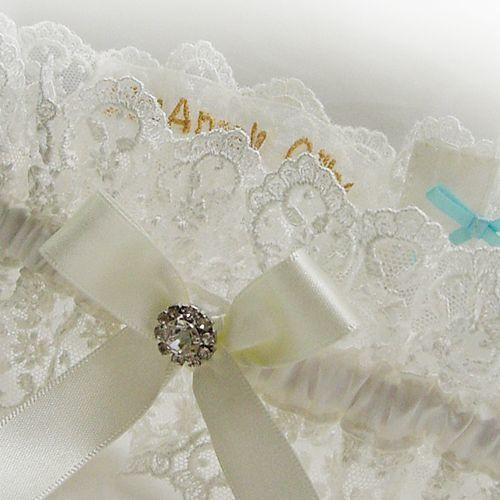Luxury wedding garter ivory personalised inside