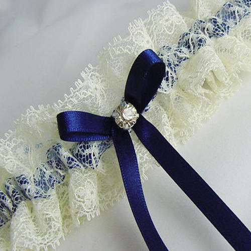 ivory and blue lace garter navy