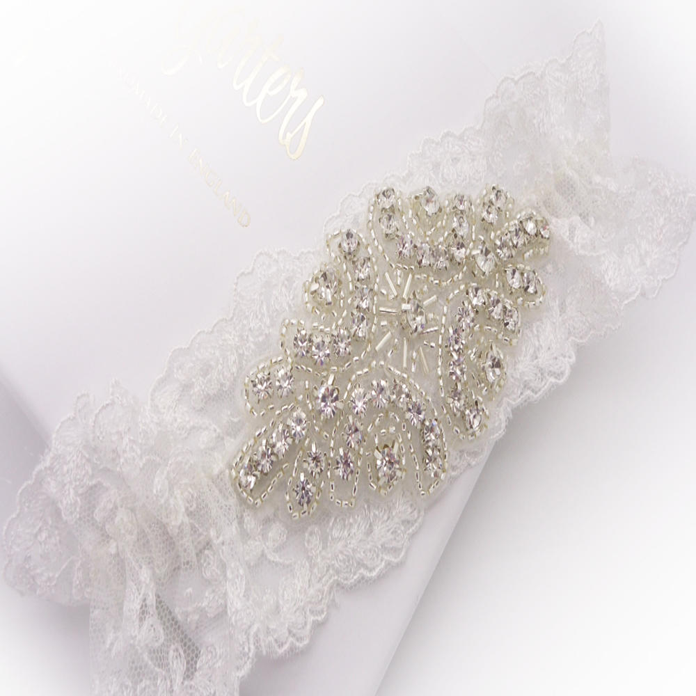 Vintage lace wedding garter with crystals