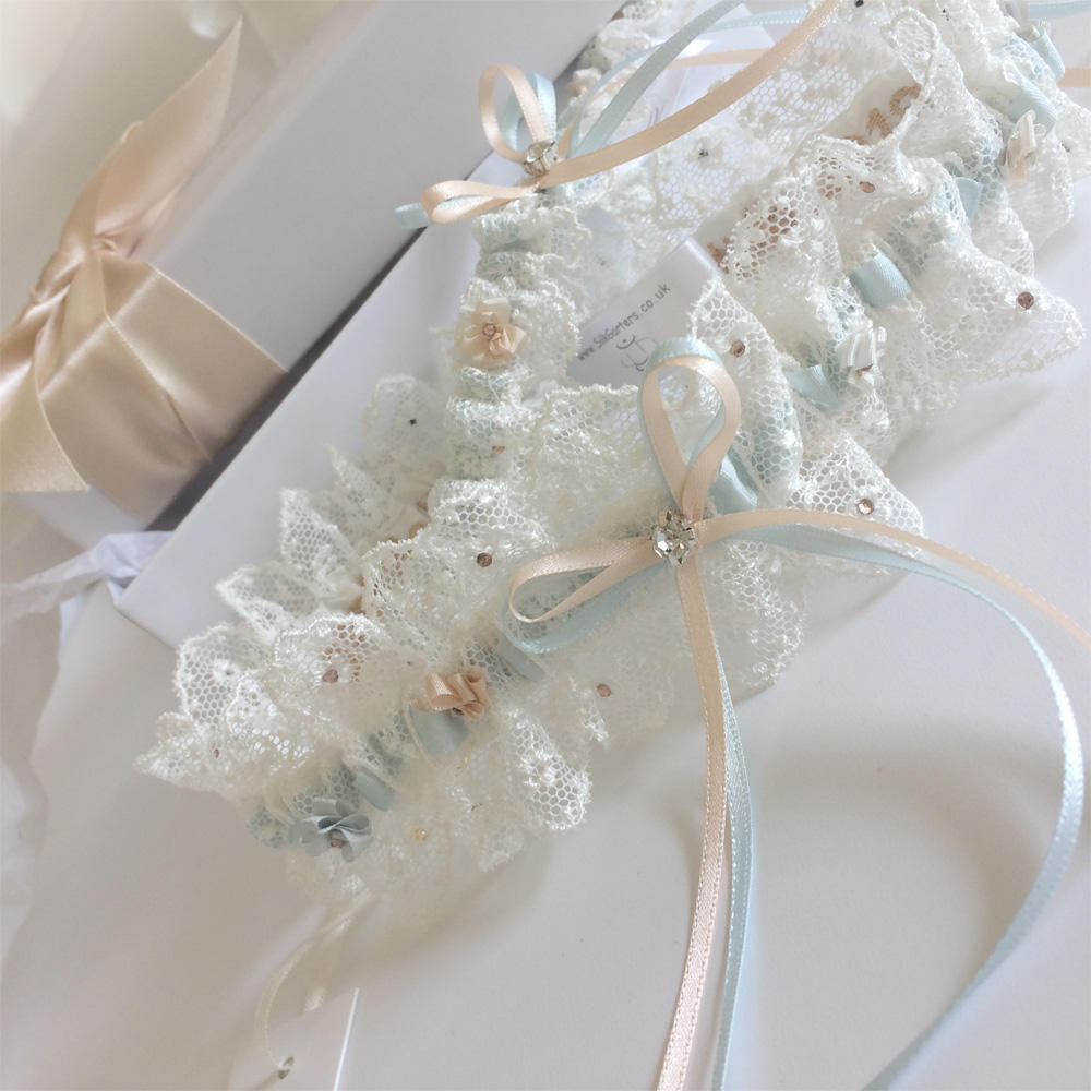 Embroidered bridal garter set with silk ribbon