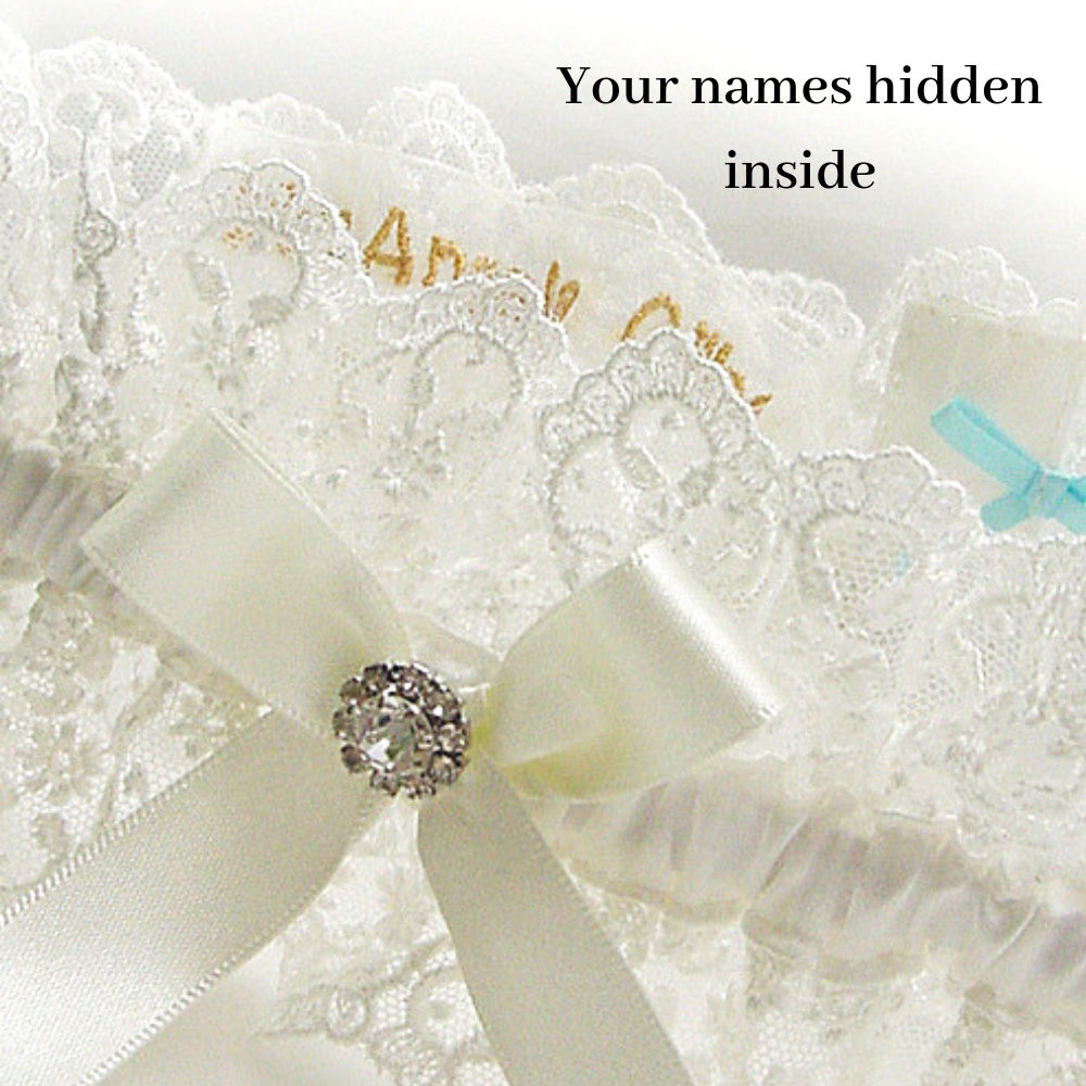 ivory wedding garter personalised inside