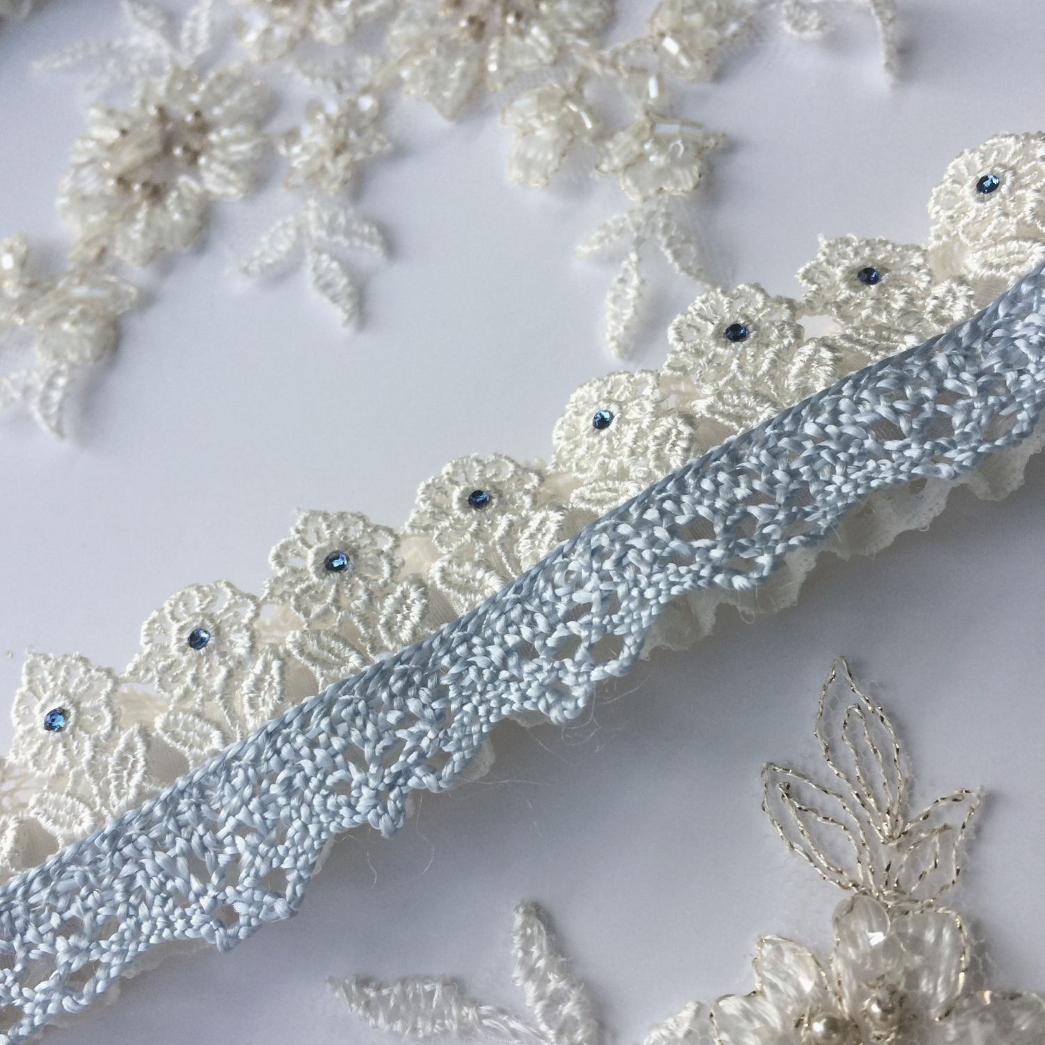Flat lace wedding garter Pretty maids all in a row