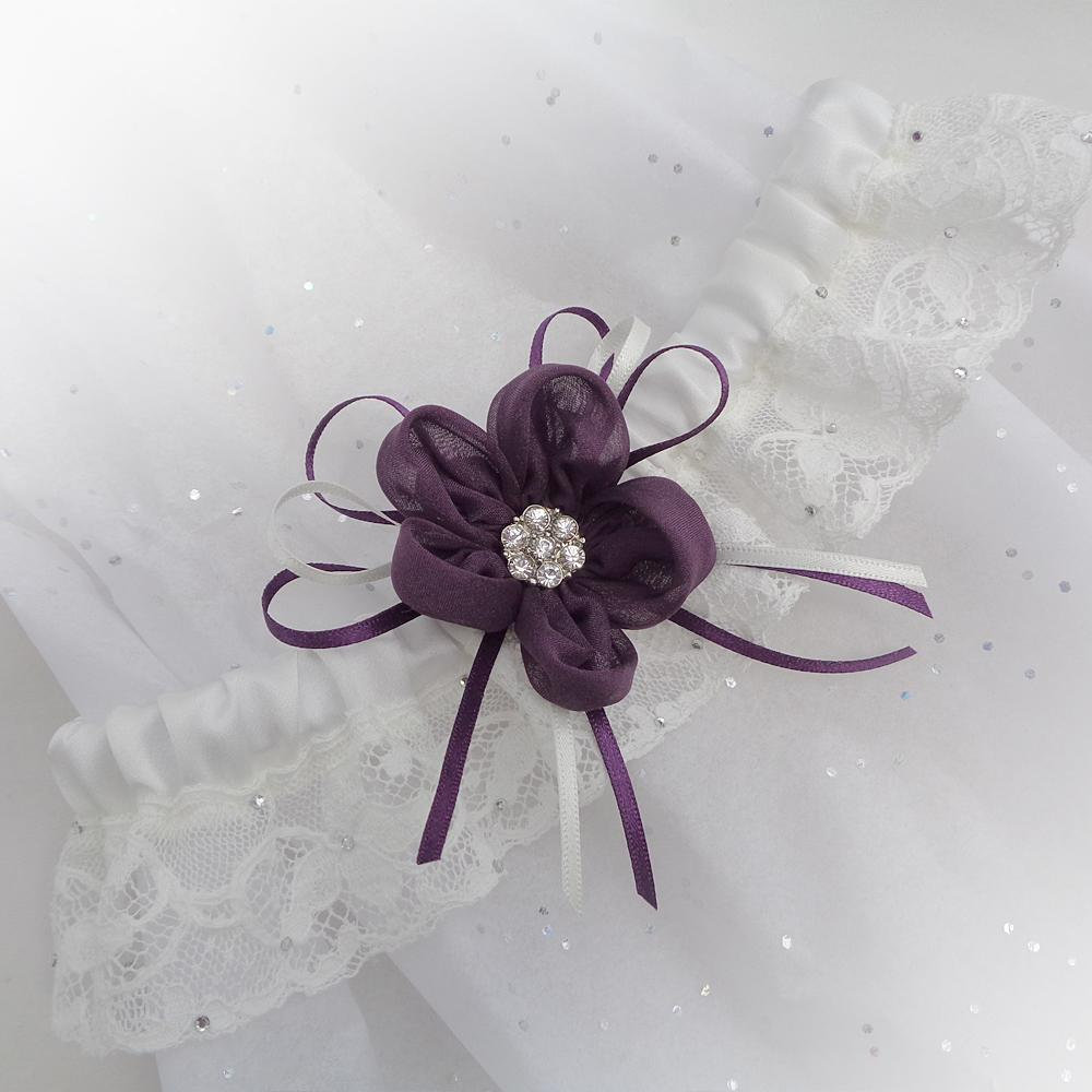 luxury wedding garter purple silk daisy