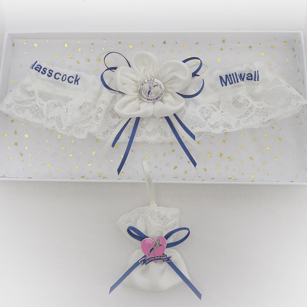 Millwall wedding garter and lucky sixpence bag, grooms own badges