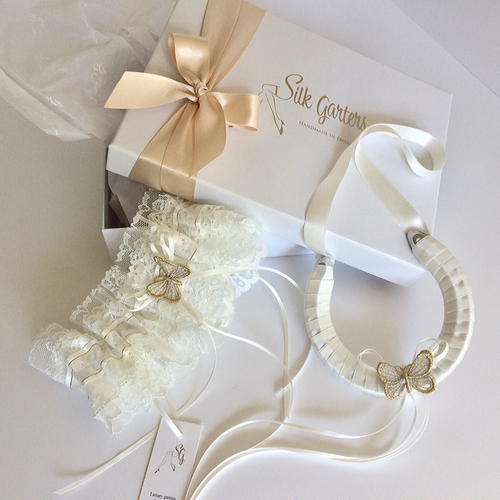 Wedding garter set ivory gold silver