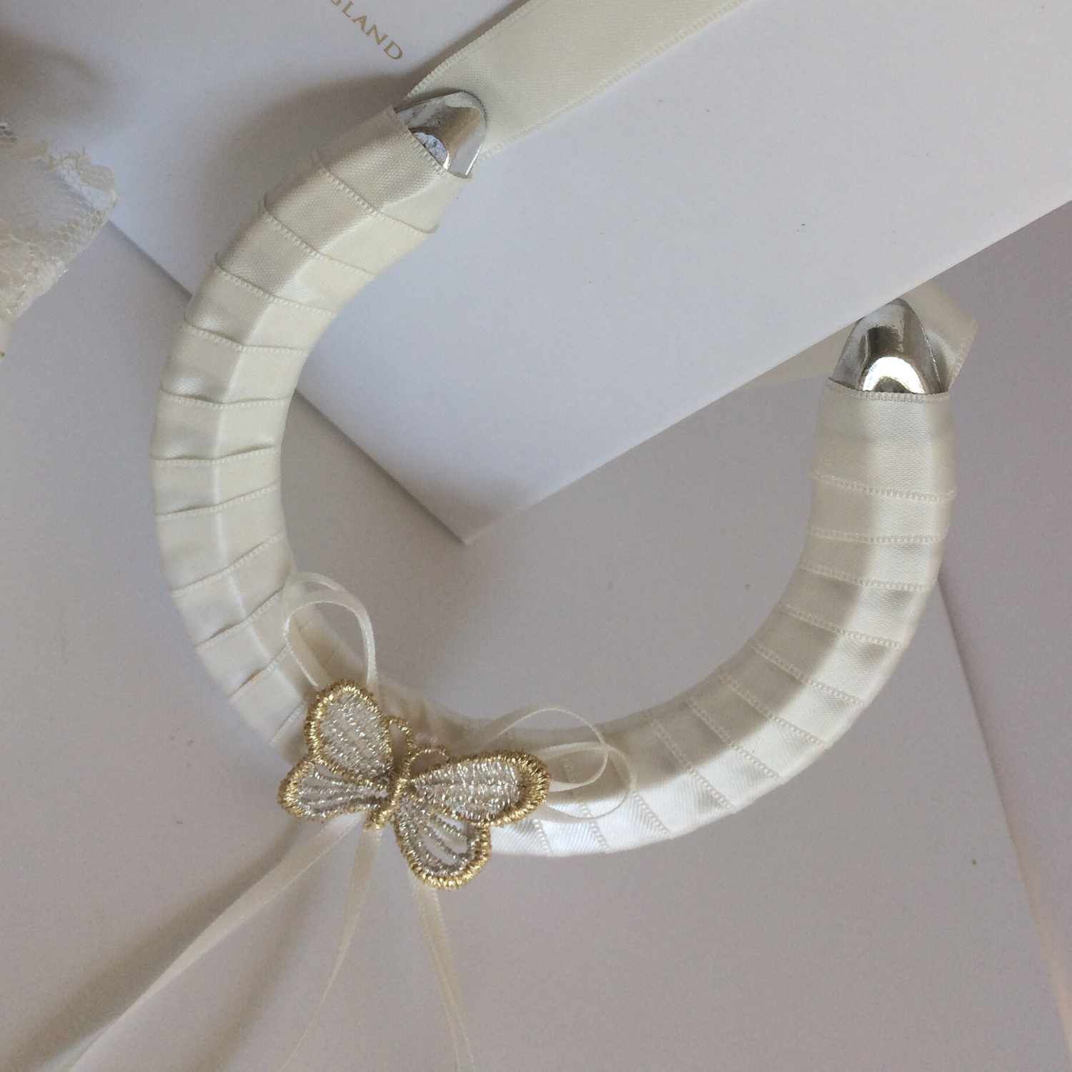 butterfly Wedding garter set ivory gold silver