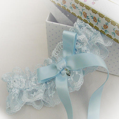 Blue brides garter with a crytstal drop