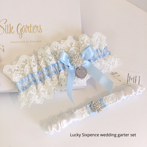 Wedding garter set Something blue