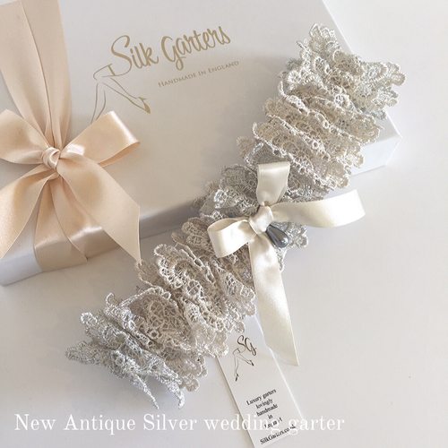 Antique silver wedding garter
