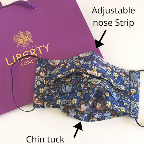 Liberty print face mask strawberry thief blue