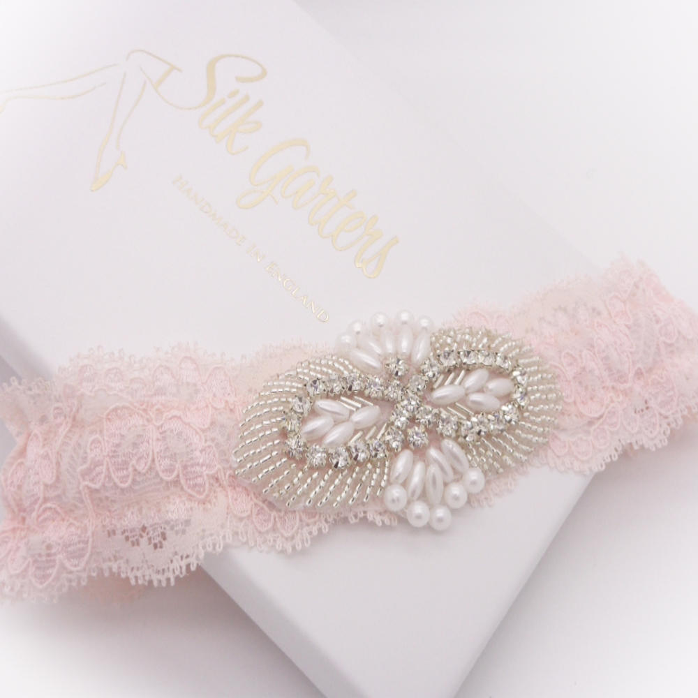 blush wedding garter uk
