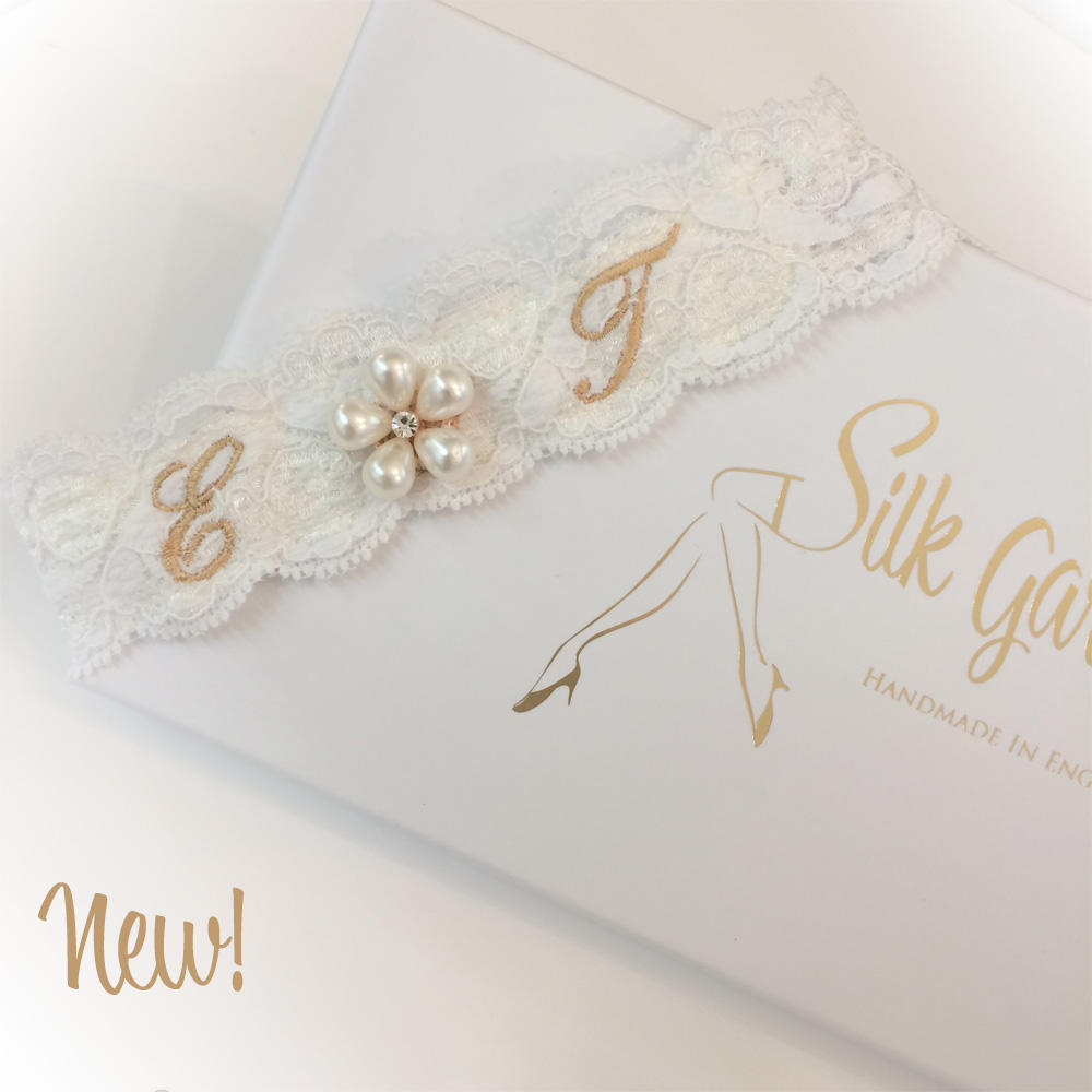 Ivory and gold wedding garter personalised