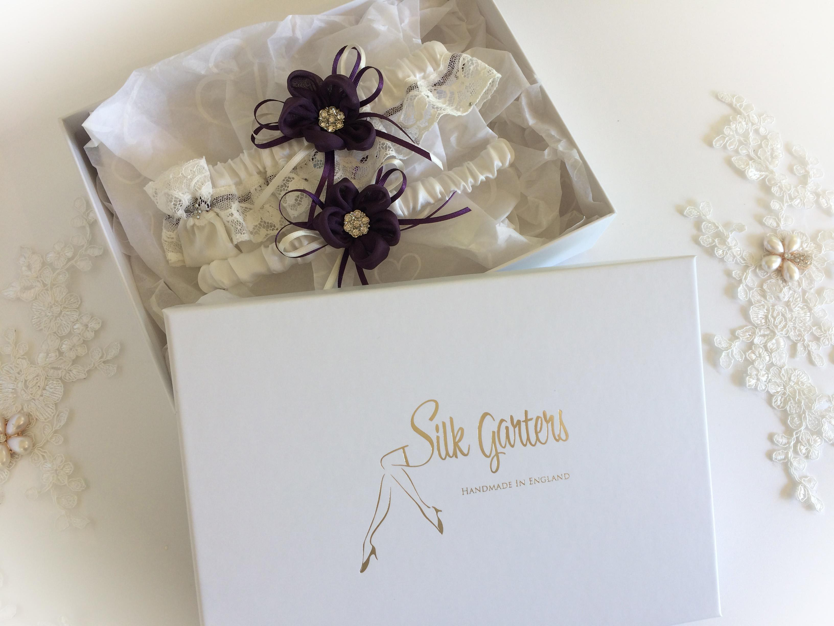 Unique wedding garter 'Silk Daisy' Exclusive to Silk Garters, with handmade flowers and Nottingham lace