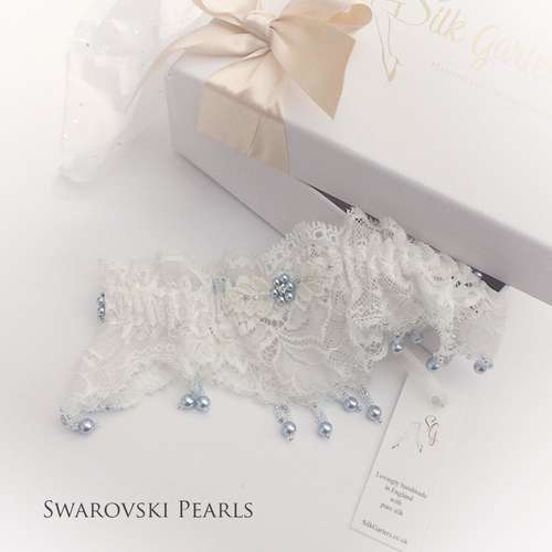 Luxury designer wedding garter with Swarovski pearls blue