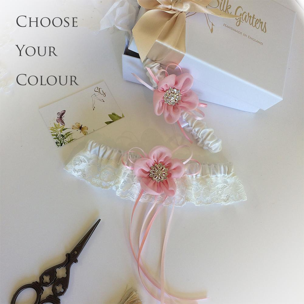 Luxury Clara wedding garter set, choose your colour