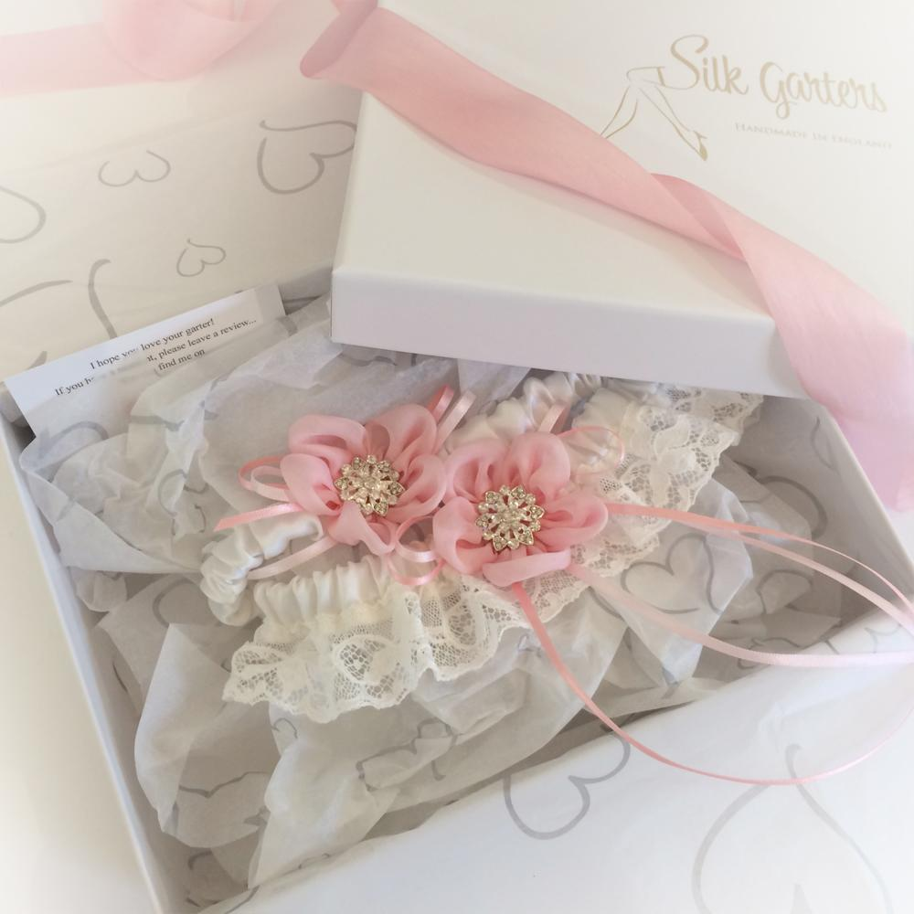 pink wedding garter set Gift boxed for a bride