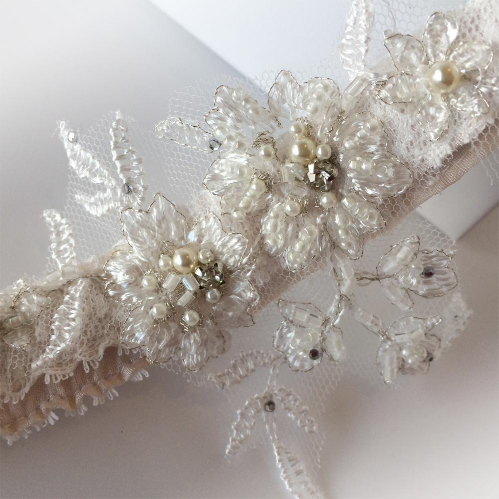 Mia vintage wedding garter pearls