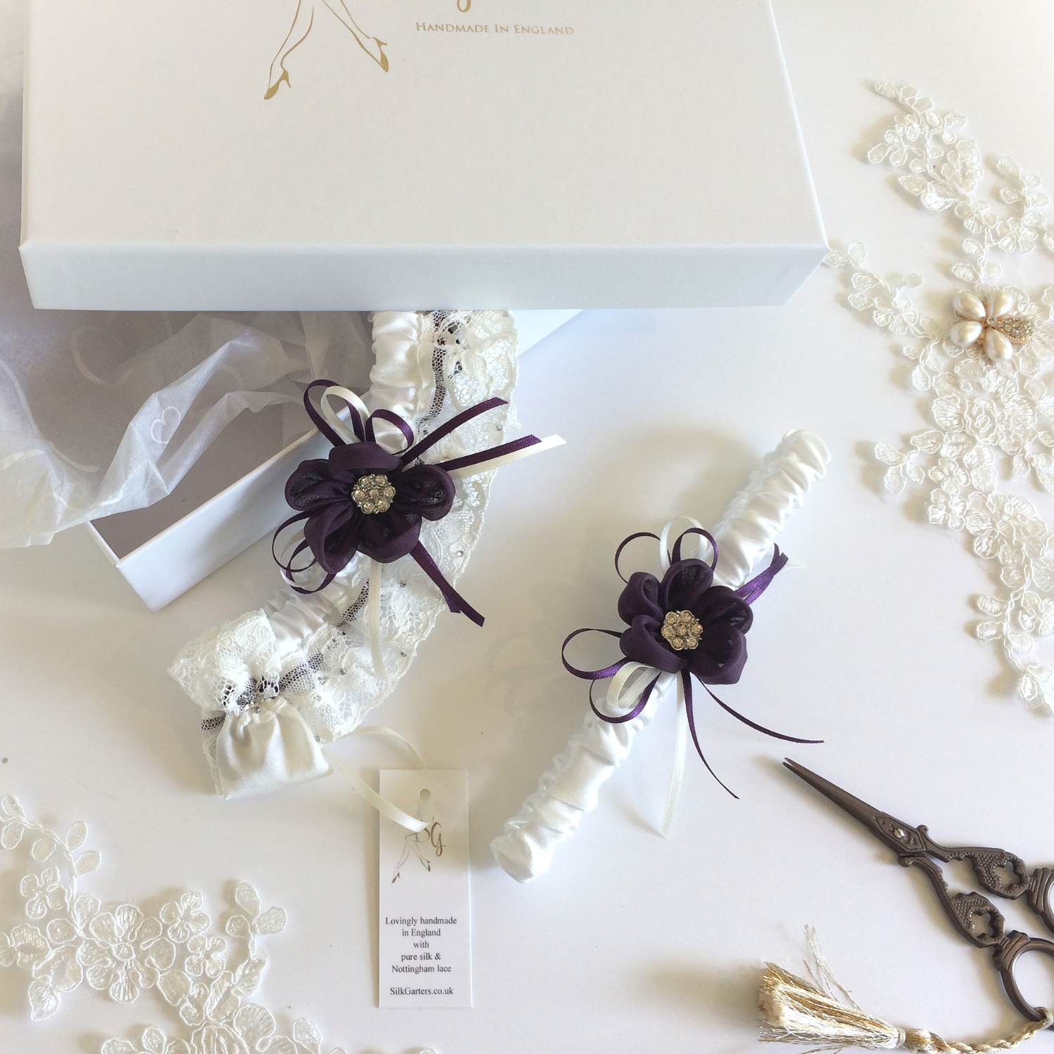 Purple wedding garter set designer
