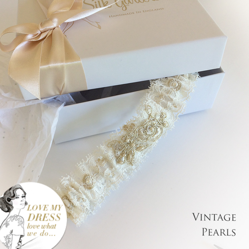 Champagne wedding garter vintage pearls