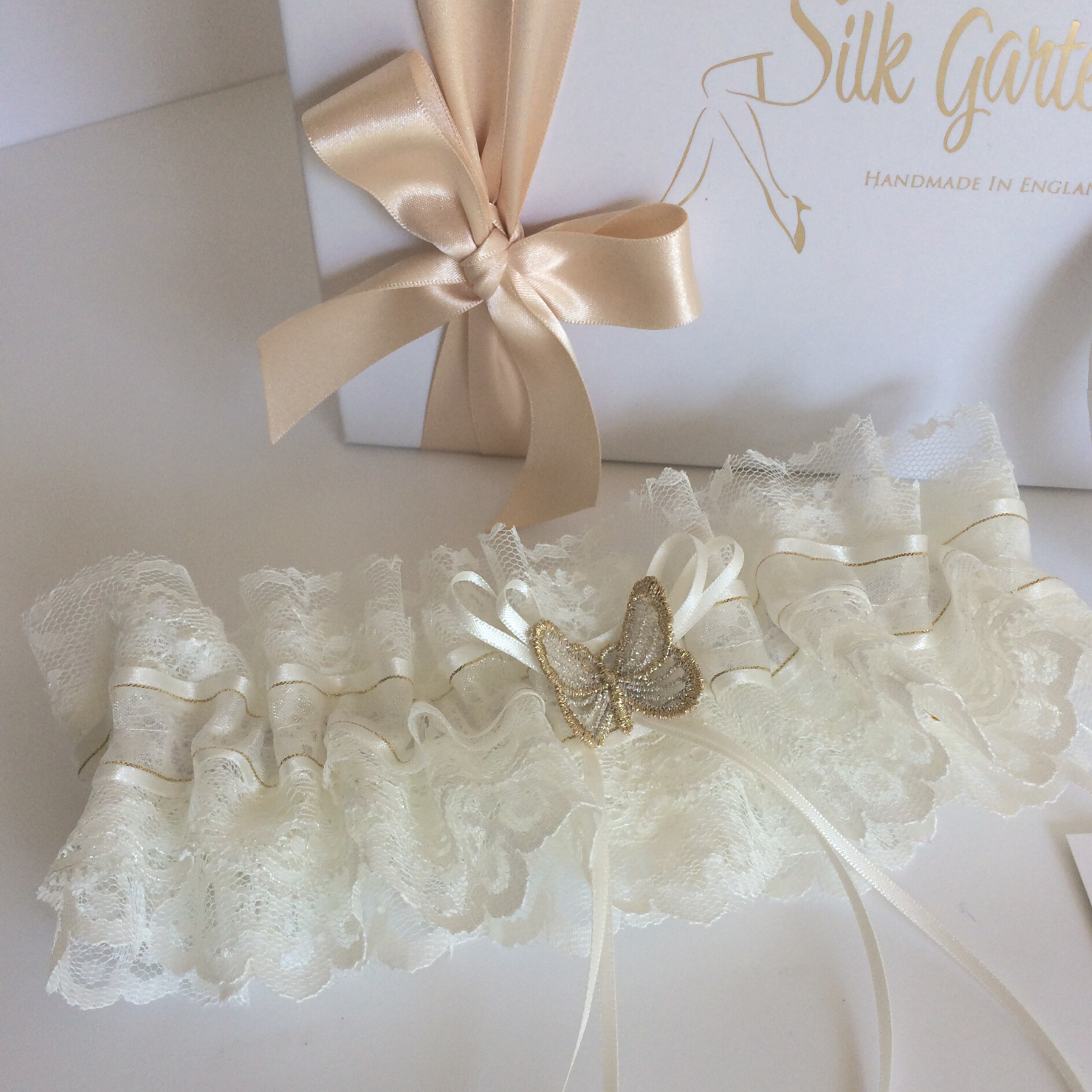 handmade Wedding garter set ivory gold silver
