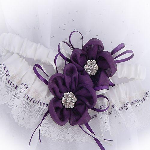 luxury wedding garter purple