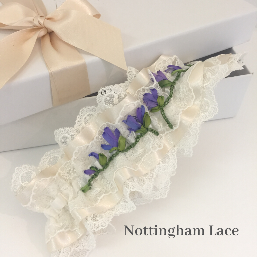 Custom made wedding garter in Nottingham lace