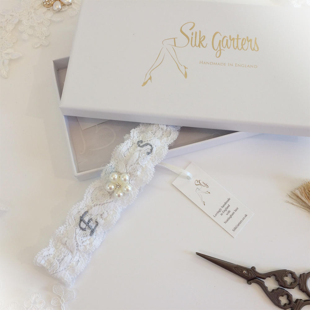 silver embroidered wedding garter alternative font