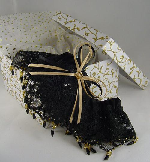 Black lace wedding garter