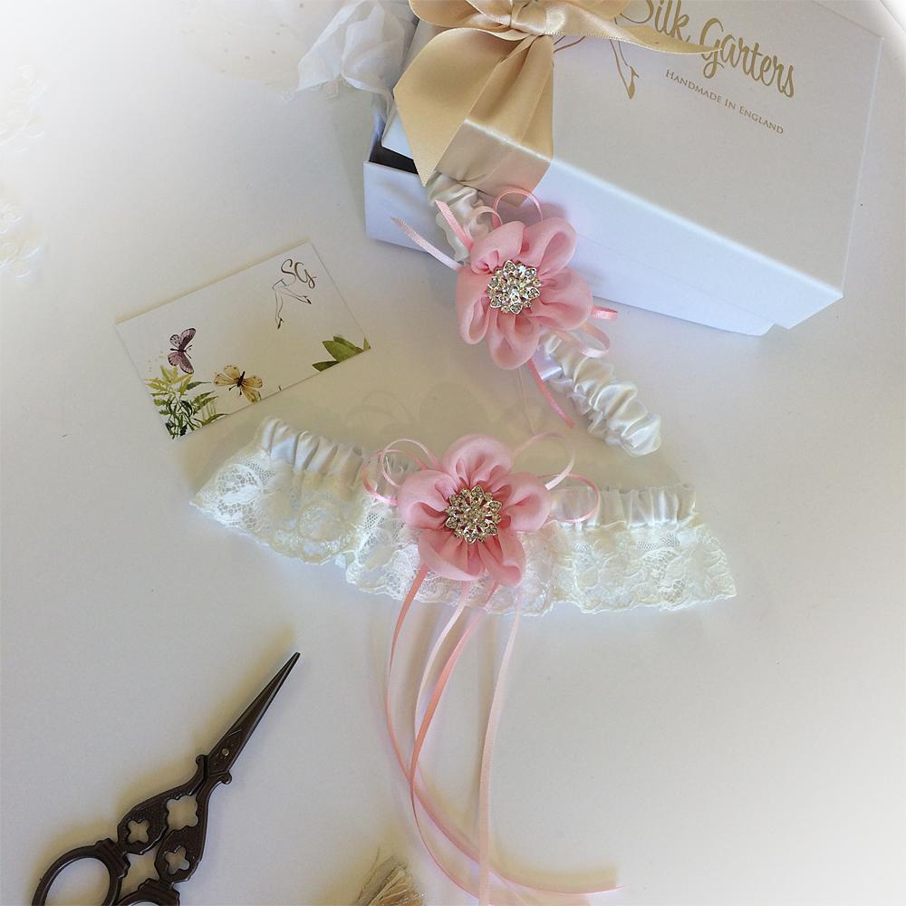 English Nottingham Lace wedding garter set