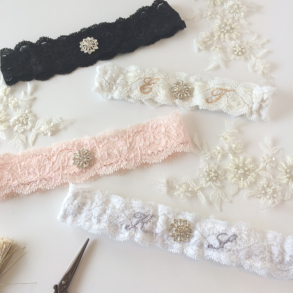 Sleek wedding garter in a choice of colours
