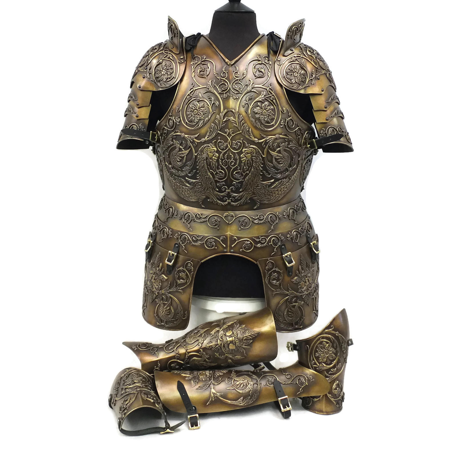 Negroli embossed larp armour set bronze finish