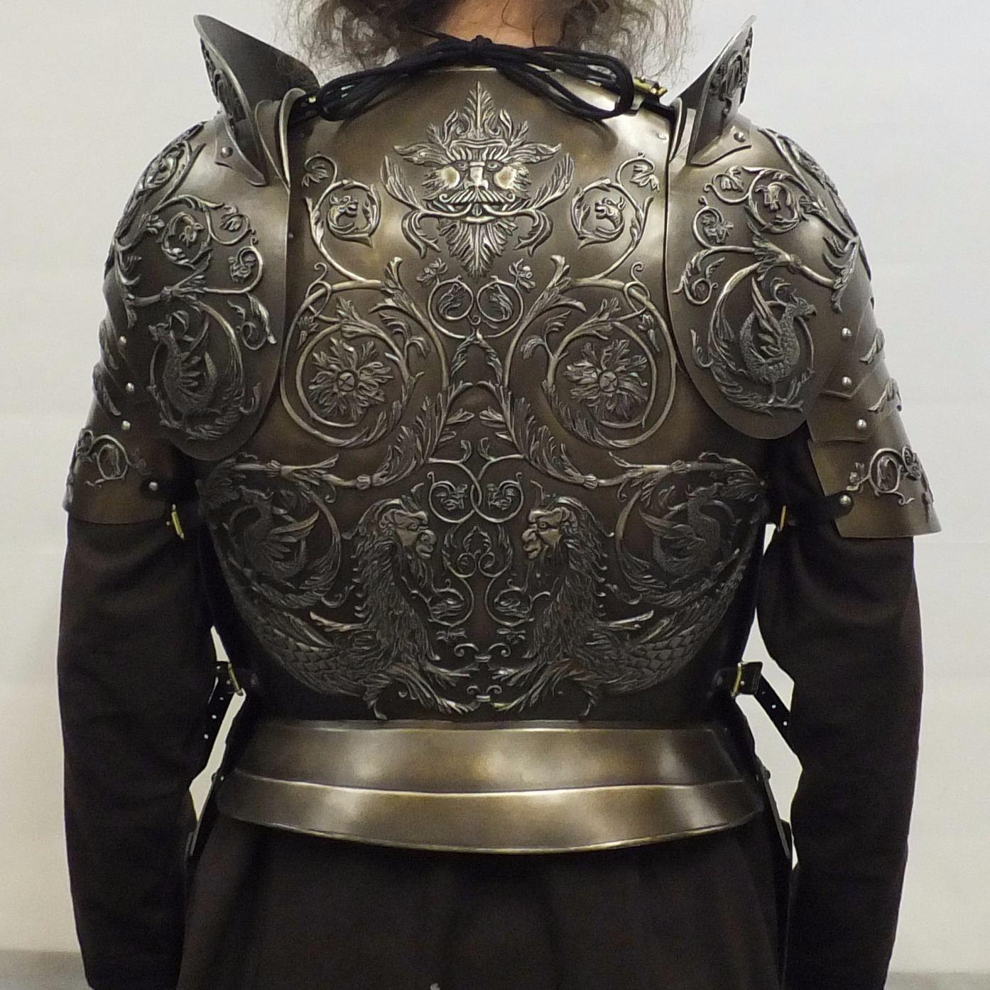 Negroli embossed larp armour set close up
