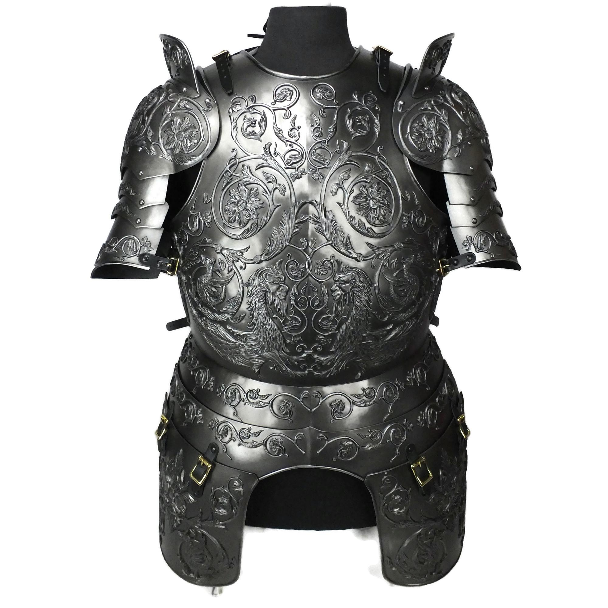 Negroli embossed larp armor set round neck
