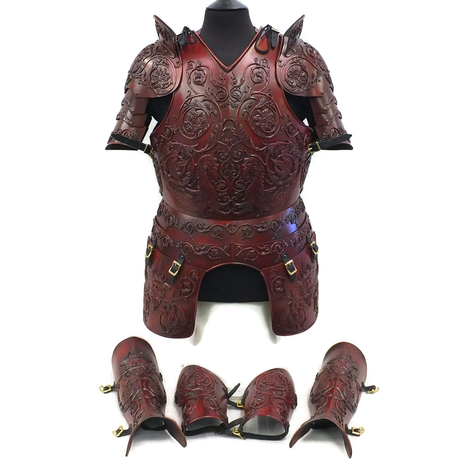 Negroli embossed larp armour set red finish