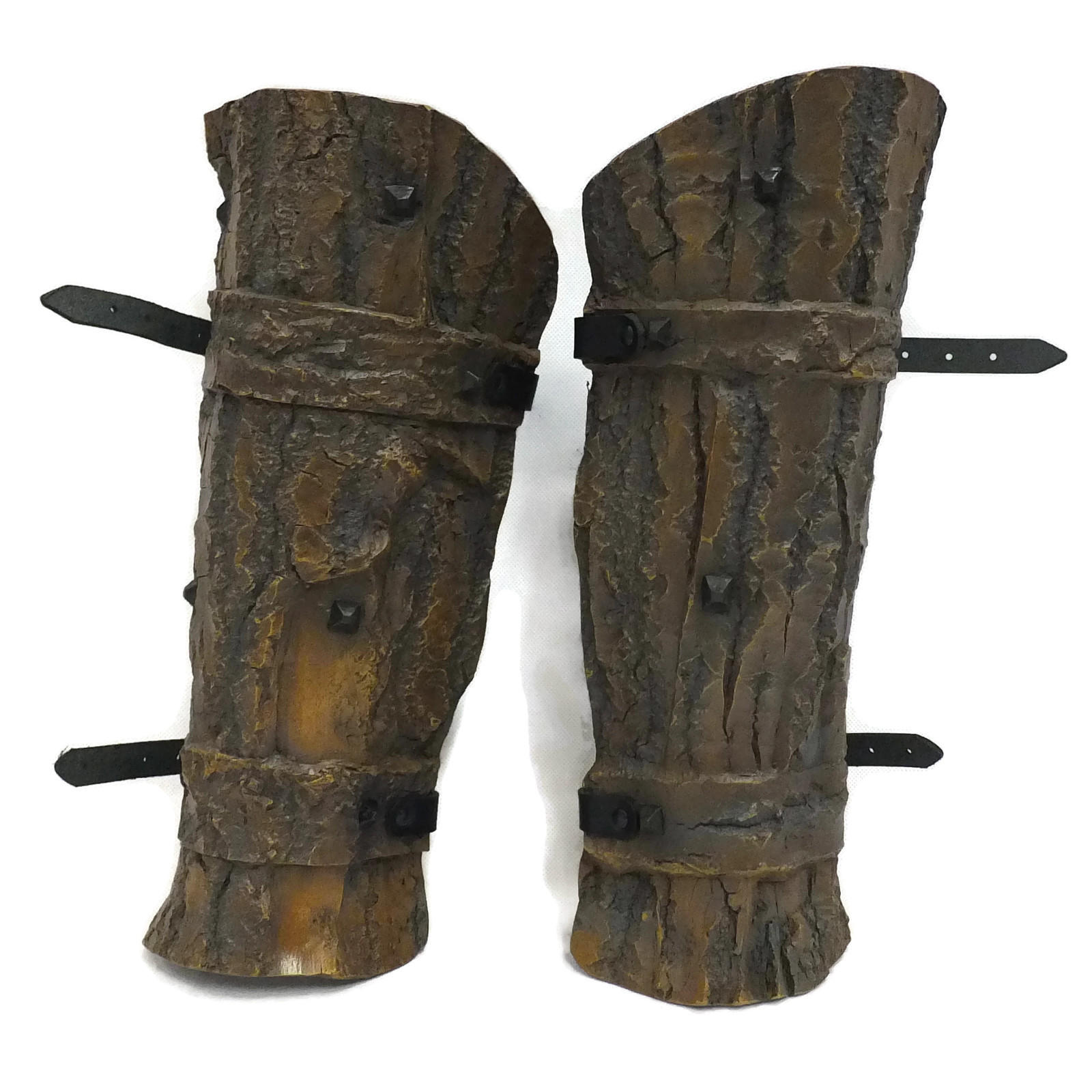 Studded bark effect larp greaves