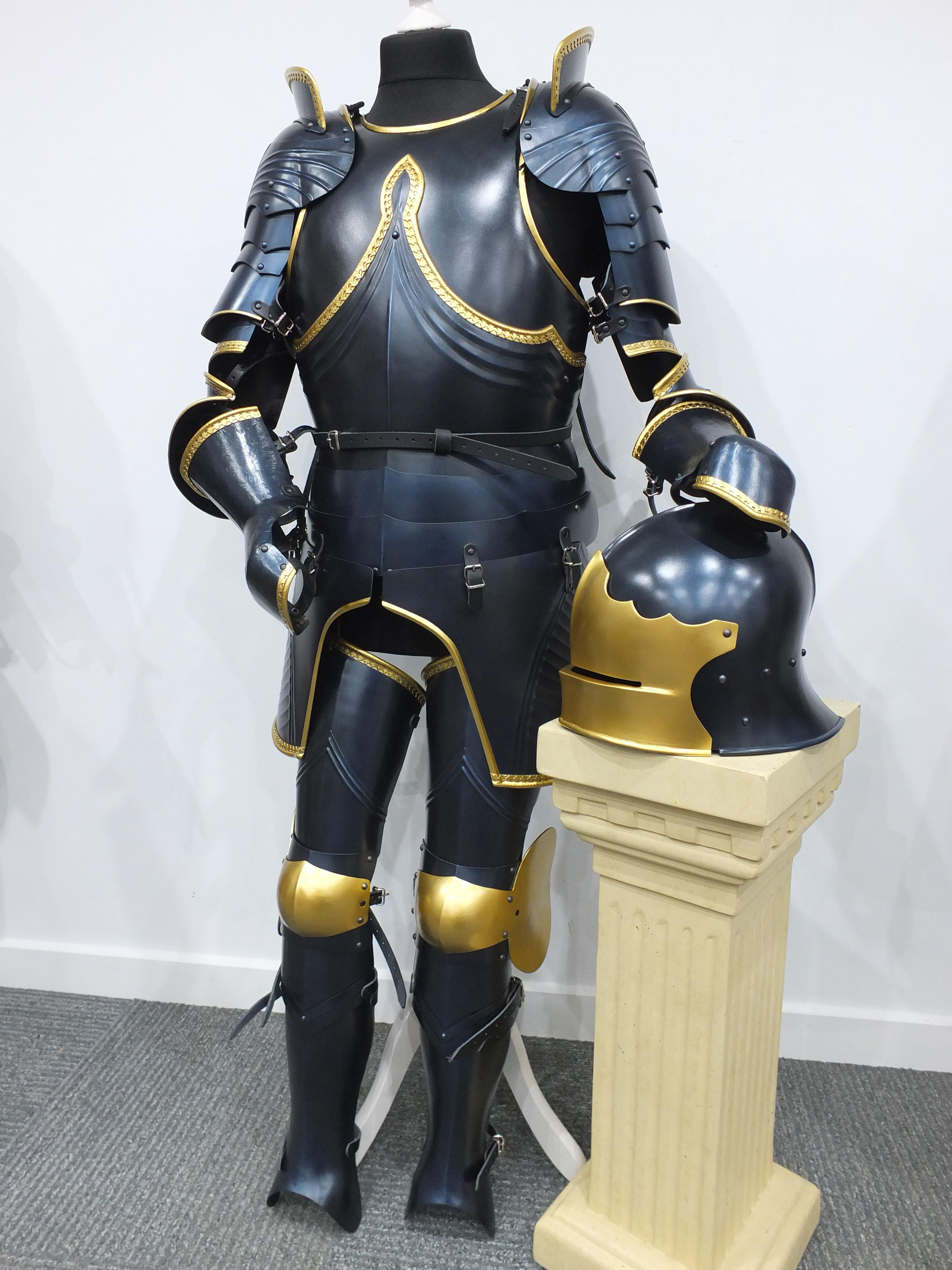Decorative Gothic armour set in custom blued steel and gold finish