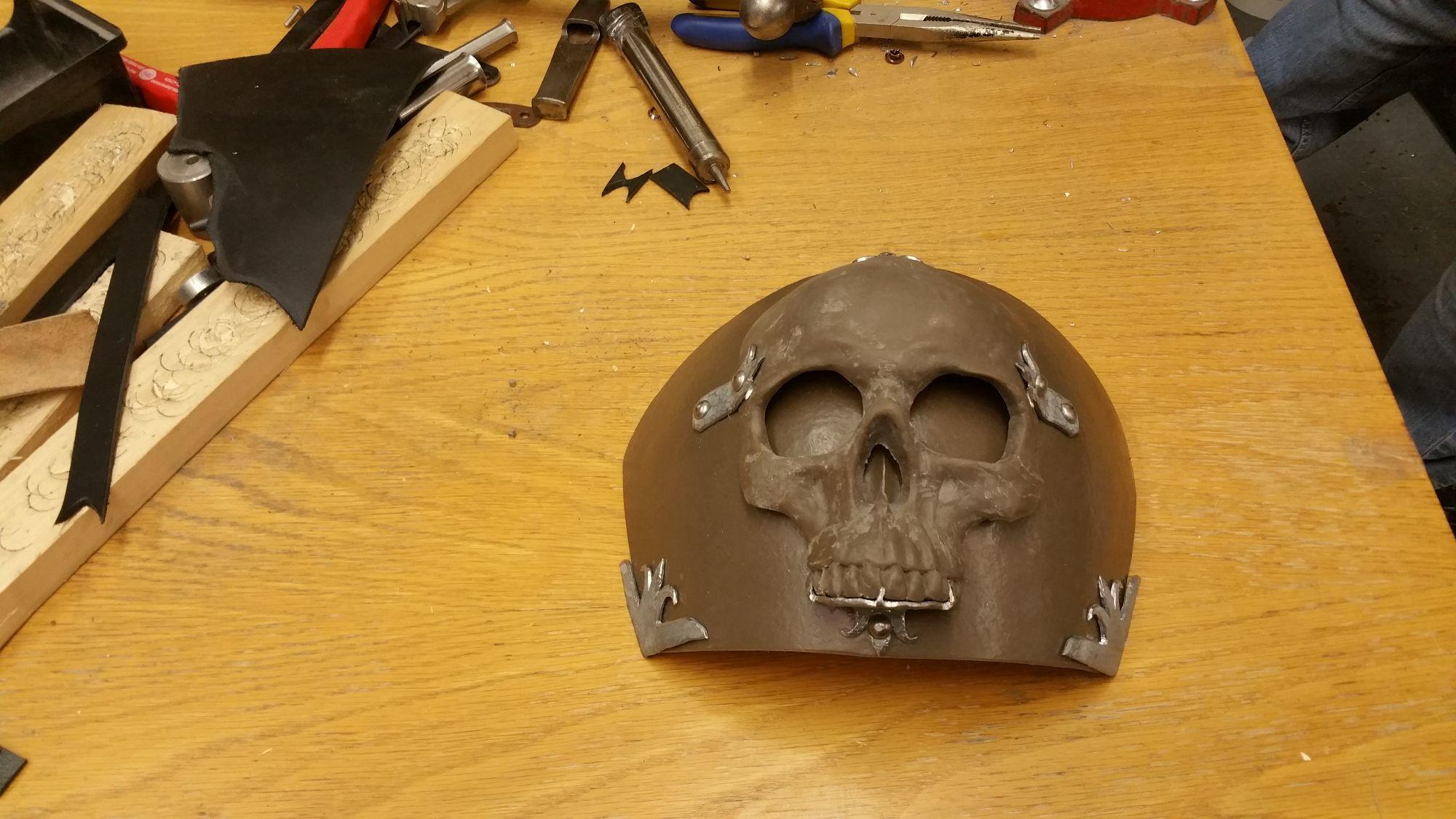 Ominous skull pauldron in progress