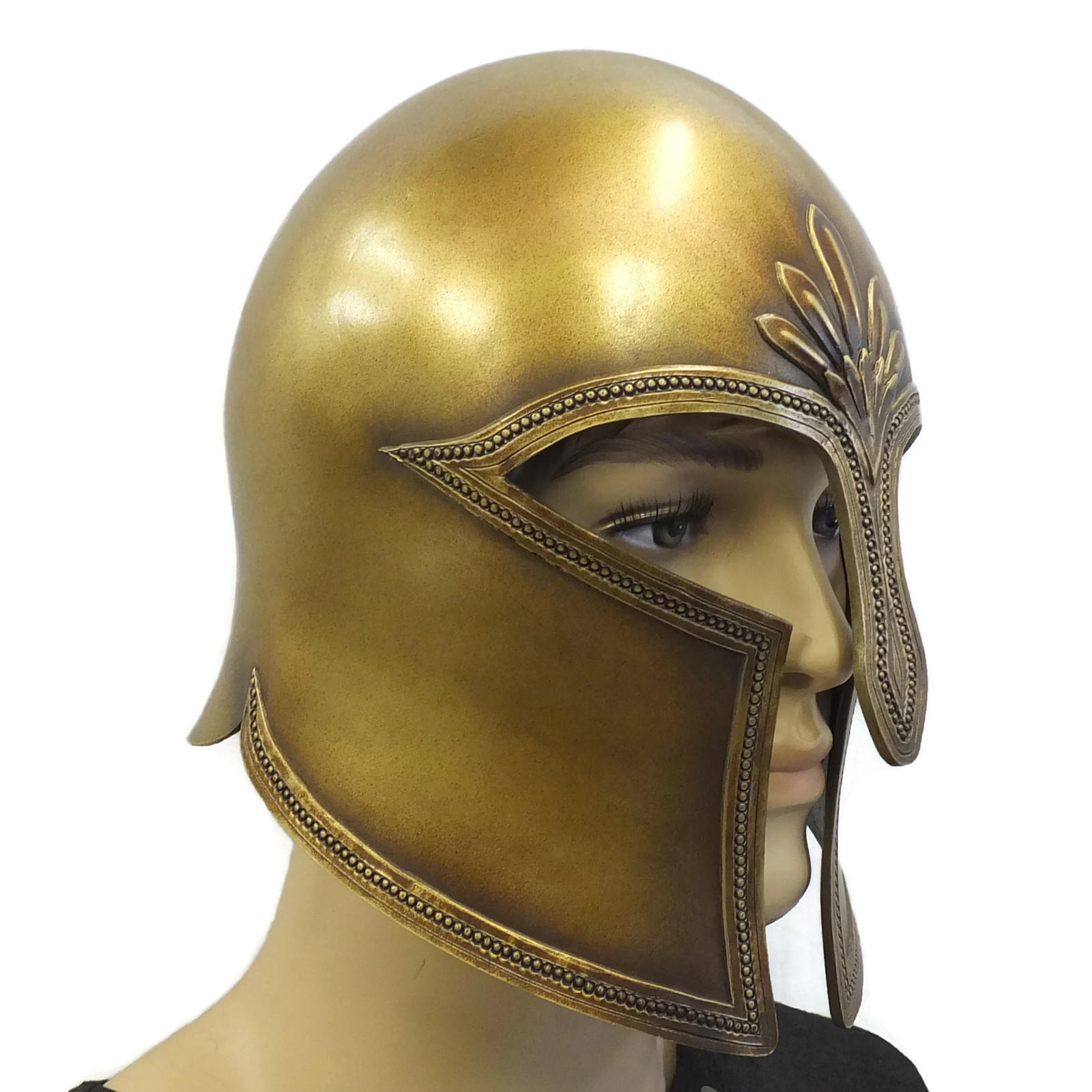 Greek Corinthian style larp helmet on model side view