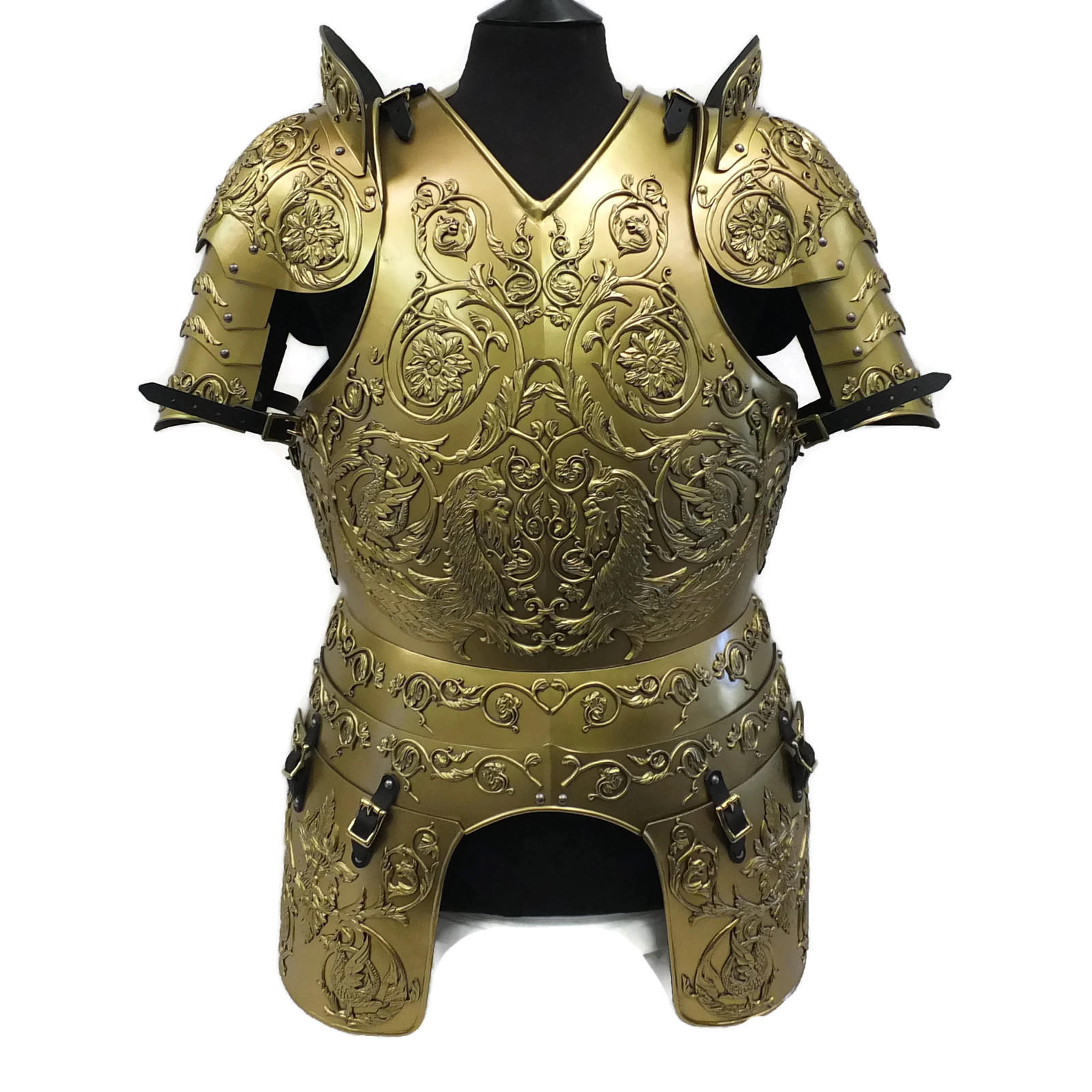 Negroli embossed larp armour set gold finish