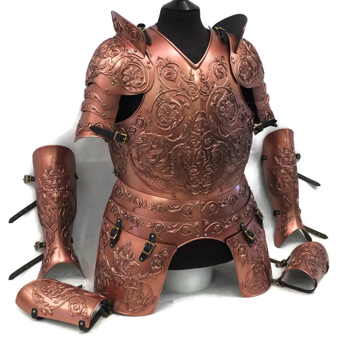 Negroli embossed larp armour set copper finish