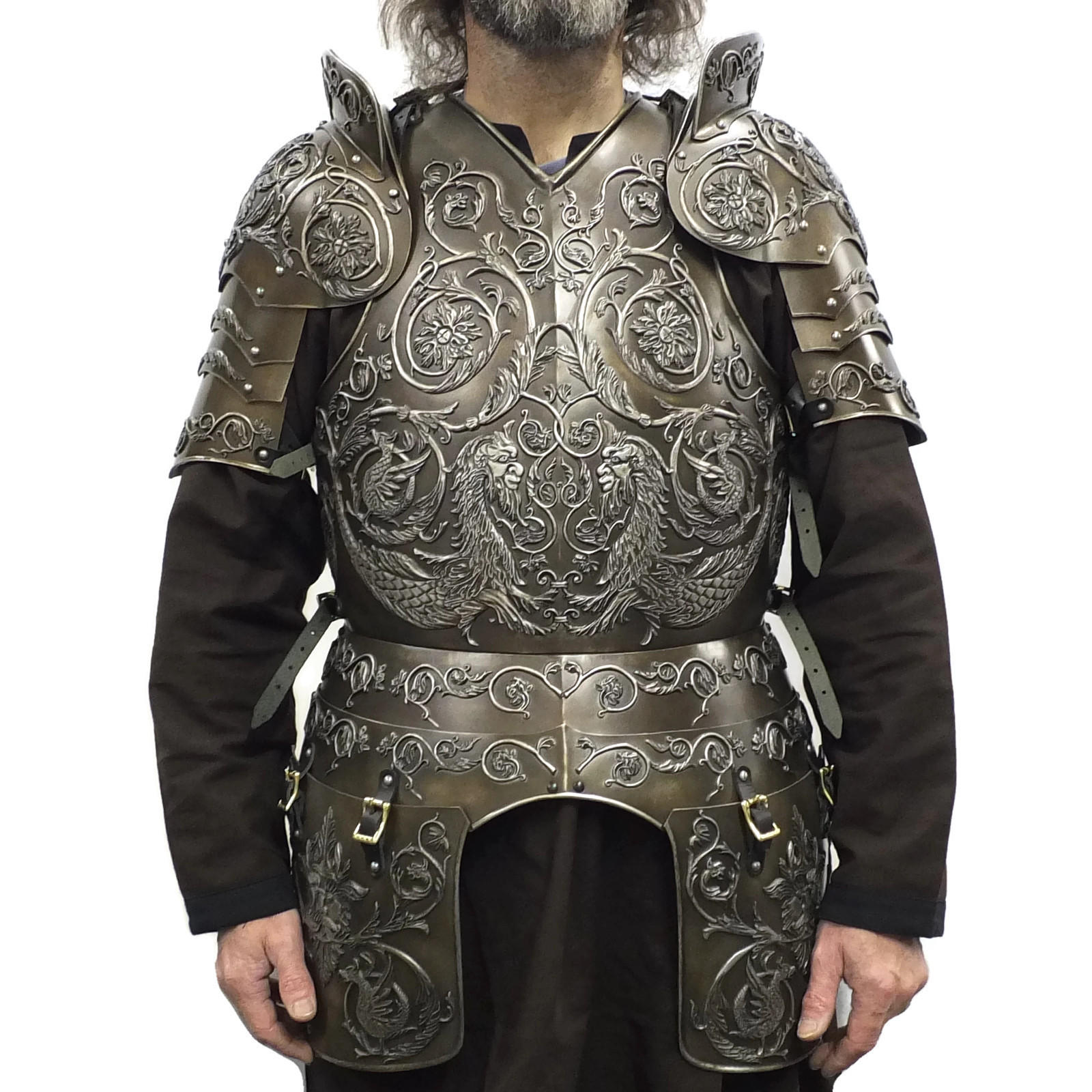 Negroli embossed larp armour set iron finish