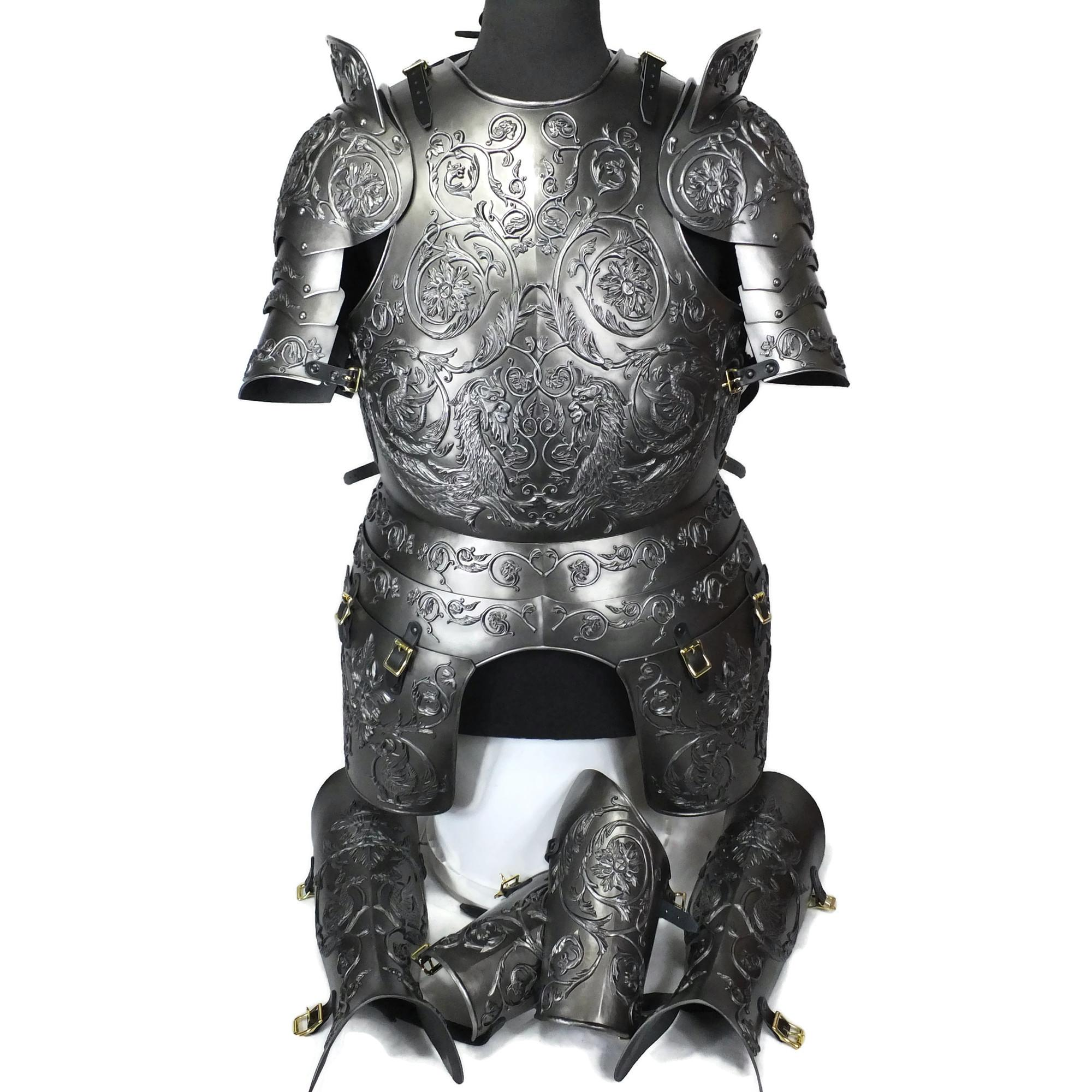 Negroli embossed larp armour set dark steel finish